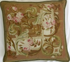 1163P   A  19TH  CENTURY  AUBUSSON  TAPESTRY  PILLOW  23 X 22