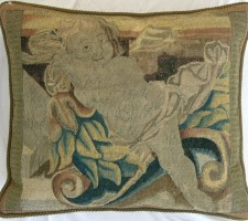 1217P     A  17TH  CENTURY  BRUSSELS  TAPESTRY  PILLOW  21 X 18