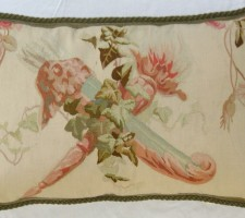 1239P     A  19TH  CENTURY FRENCH  AUBUSSON  TAPESTRY  PILLOW 24 X 15
