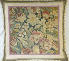 1316P     A19TH  CENTURY  FRENCH AUBUSSON TAPESTRY  PILLOW  26 X 25