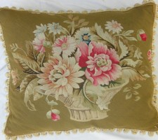 1321P   A  19TH  CENTURY AUBUSSON  TAPESTRY  PILLOW  24 X 20