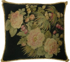 1381P  A  19TH  CENTURY  FRENCH  NEEDLEPOINT  PILLOW  18 X 18