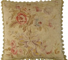 1404P   Ca. 1850  A FRENCH SILK AUBUSSON PILLOW  18 X 18