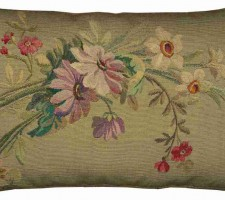 1485P  A  FRENCH  AUBUSSON  Ca. 1850  PILLOW  18 X 12