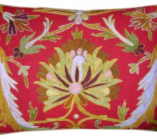 1545P   Ca.1800   EMBROIDERY  INDIAN  PILLOW  23 X 17