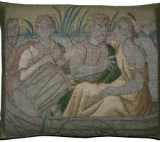 1666P  17TH CENTURY  ANTIQUE BRUSSELS TAPESTRY PILLOW 19 X 16