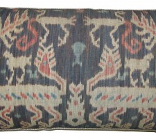 1671P   Ca.1850   ANTIQUE IKAT TAPESTRY PILLOW  27 X 16