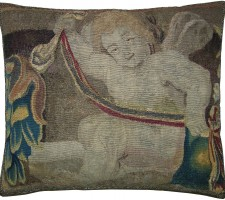 1672P  17TH CENTURY  ANTIQUE BAROQUE TAPESTRY PILLOW  19 X 16