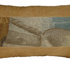 1730P   17TH CENTURY  ANTIQUE BRUSSELS TAPESTRY PILLOW 22 X 12