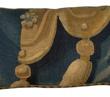 1737P  17 TH CENTURY  ANTIQUE BRUSSELS TAPESTRY PILLOW  22 X 11