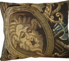 1742P   17TH CENTURY  ANTIQUE BRUSSELS TAPESTRY PILLOW 21 X 18