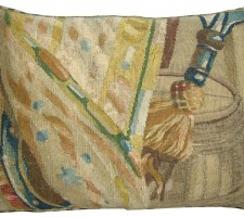 1744P   17TH CENTURY  ANTIQUE BRUSSELS TAPESTRY PILLOW 19 X 14