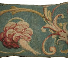 1753P   18TH CENTURY  ANTIQUE FRENCH AUBUSSON TAPESTRY PILLOW 23 X 15