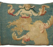 1754P   18TH CENTURY  ANTIQUE FRENCH AUBUSSON TAPESTRY PILLOW 21 X 14