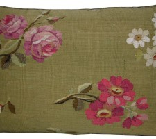 1758P   Ca.1860  ANTIQUE FRENCH AUBUSSON PILLOW  21 X 15