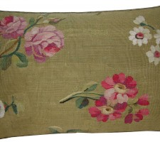1759P   Ca.1860  ANTIQUE FRENCH AUBUSSON PILLOW 21 X 15