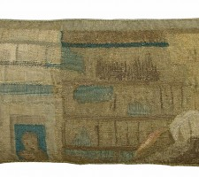 1766P  17TH CENTURY  ANTIQUE BRUSSELS TAPESTRY PILLOW 23 X 11