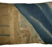 1767P   17TH CENTURY  ANTIQUE BRUSSELS TAPESTRY PILLOW 18 X 12