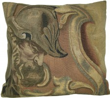 1772P   17TH CENTURY  ANTIQUE METALIC  BRUSSELS TAPESTRY PILLOW  23 X 21