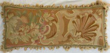 285P     A  18TH  CENTURY  FRENCH  TAPESTRY  PILLOW  23 X 10