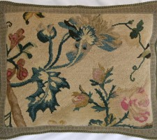 440P     A  17TH   FRENCH  LOUIS  XV  ROCOCO  NEEDLEPOINT  PILLOW 18 X 14