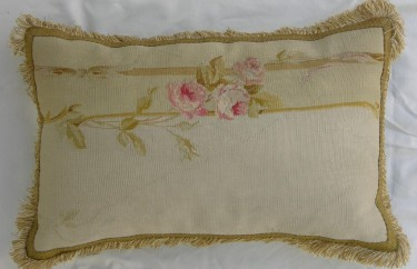 598P     A  19TH  CENTURY  FRENCH  AUBUSSON  TAPESTRY  PILLOW 22 X 14