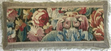 643P     A  17TH  CENTURY  BRUSSELS  TAPESTRY  PILLOW  22 X 11