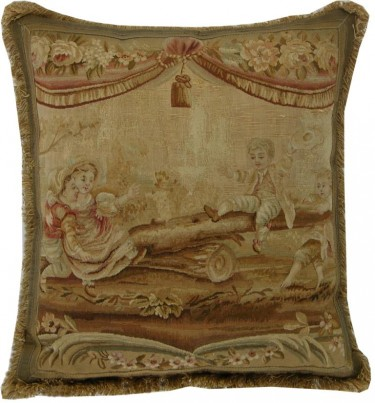 677P    A18TH  CENTURY  FRENCH  TAPESTRY  PILLOW 24 X 22