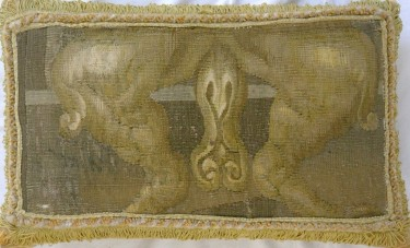 855P     A  17TH  CENTURY  BRUSSELS  TAPESTRY  PILLOW  19 X 12
