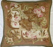 1160P   A  19TH  CENTURY  FRENCH  AUBUSSON  TAPESTRY  PILLOW 23 X 22