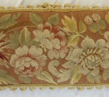 1335P     A 19TH  CENTURY  FRENCH  AUBUSSON  TAPESTRY   PILLOW 23 X 10
