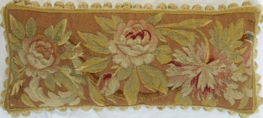 1336P     A  19TH  CENTURY  FRENCH  AUBUSSON  TAPESTRY  PILLOW 23 X 10