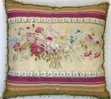 191P    A  19TH  CENTURY  FRENCH  TAPESTRY  PILLOW  24 X 26