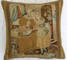 952P    A  18TH  CENTURY  ENGLISH  NEEDLEWORK  TAPESTRY  PILLOW  17 X 17