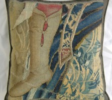989P     A  16TH  CENTURY  BRUSSELS  TAPESTRY  PILLOW 22 X 22